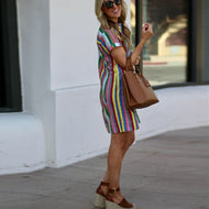 Casual Striped Lapel Dress