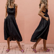 Sexy Pleated Button-Front Pleated Dress