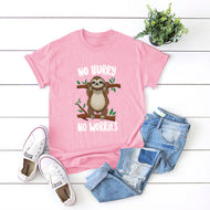 Cute and Interesting Sloth Cotton Short Sleeve Female T-shirt