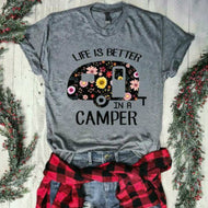 LIFE IS BETTER IN A CAMPER Letter Printed Short-sleeved T-shirt