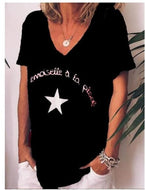 Star Letter V-neck Short Sleeve