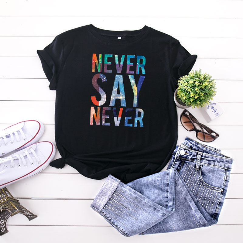 Alphabet Short-sleeved Plus Size Female T-shirt