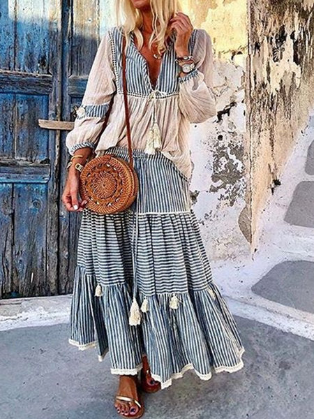 Fashion Bohemian Striped Two Piece Dress