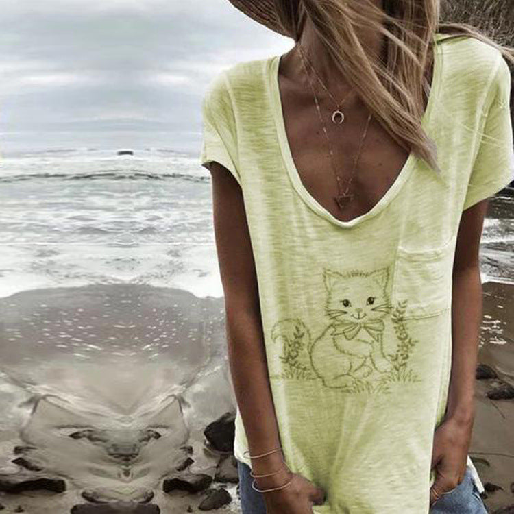 Pocket Stitching Cat Print Short Sleeve T-shirt