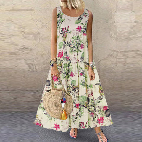 Vintage Flower Sleeveless Round Neck Loose Casual Dress