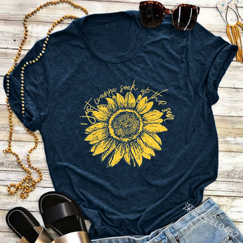 Fashion Sunflower Print Short Sleeve T-shirt