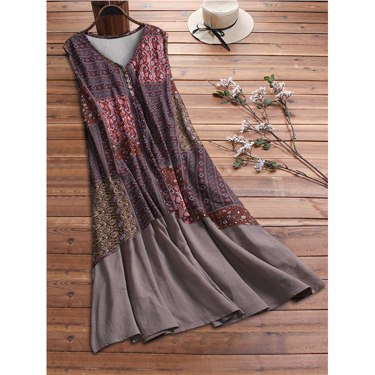 Cotton Printed Splicing Loose Sleeveless Casual Dress
