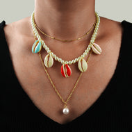 Bohemian Colored Shell Multi-layer Necklace
