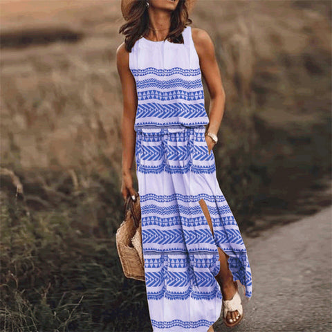 Round Neck Plus Size Printed Long Dress
