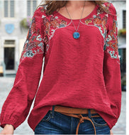 Fashion Casual Loose Embroidered Ethnic Wind Top