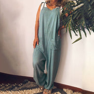 Colorful Stripe Backless Wide Loose Casual Jumpsuit