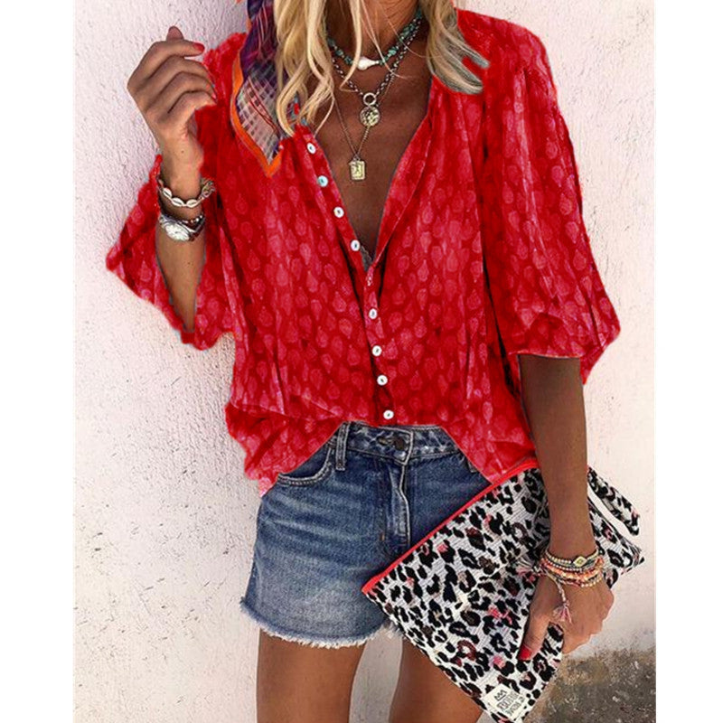 Printed Long Sleeve V-Neck Button Blouse