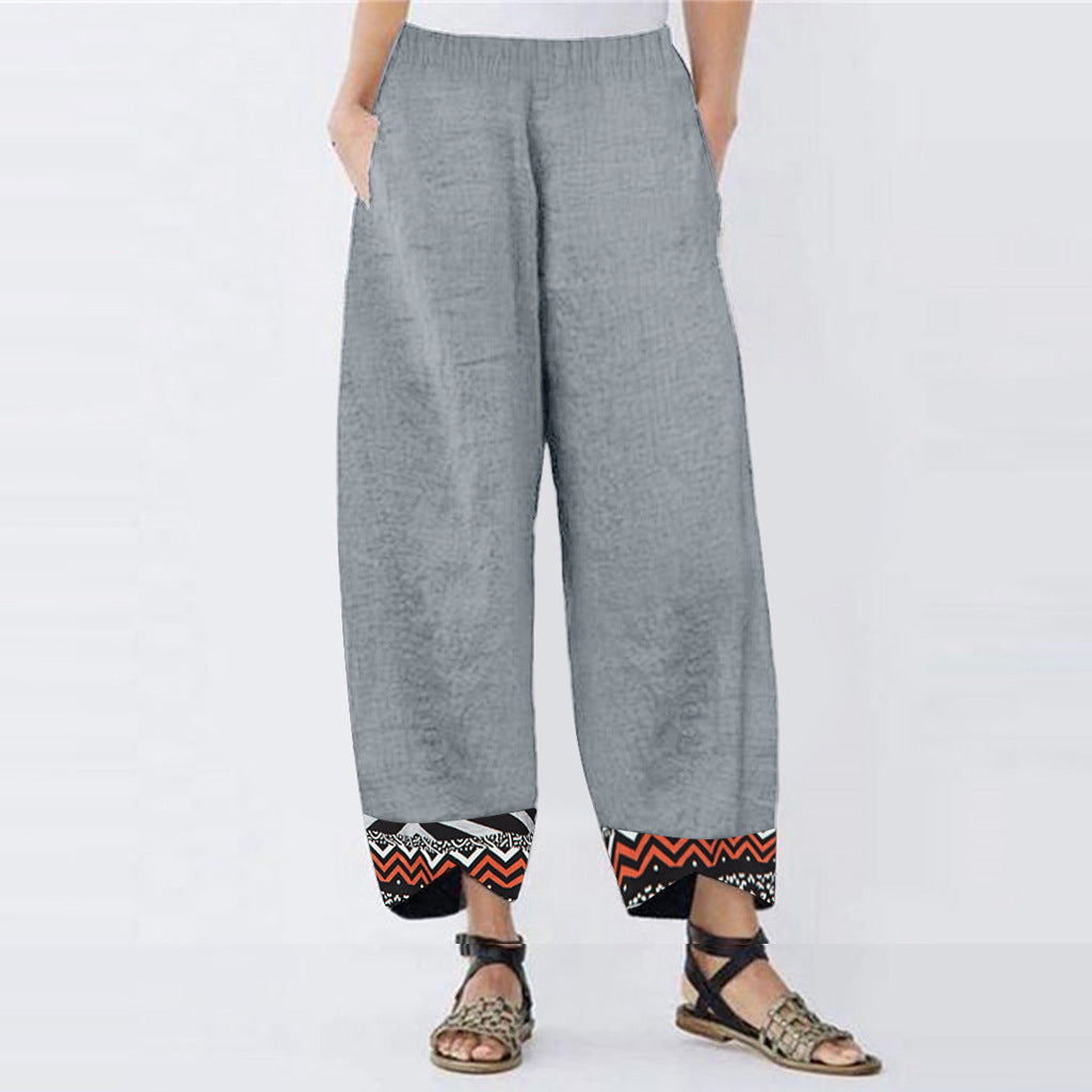 Cotton  Simple Casual Loose Printed Pants