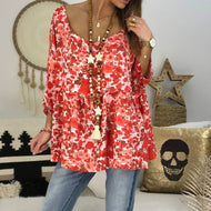 Loose Round Neck Printed 3/4 Sleeve T-shirt