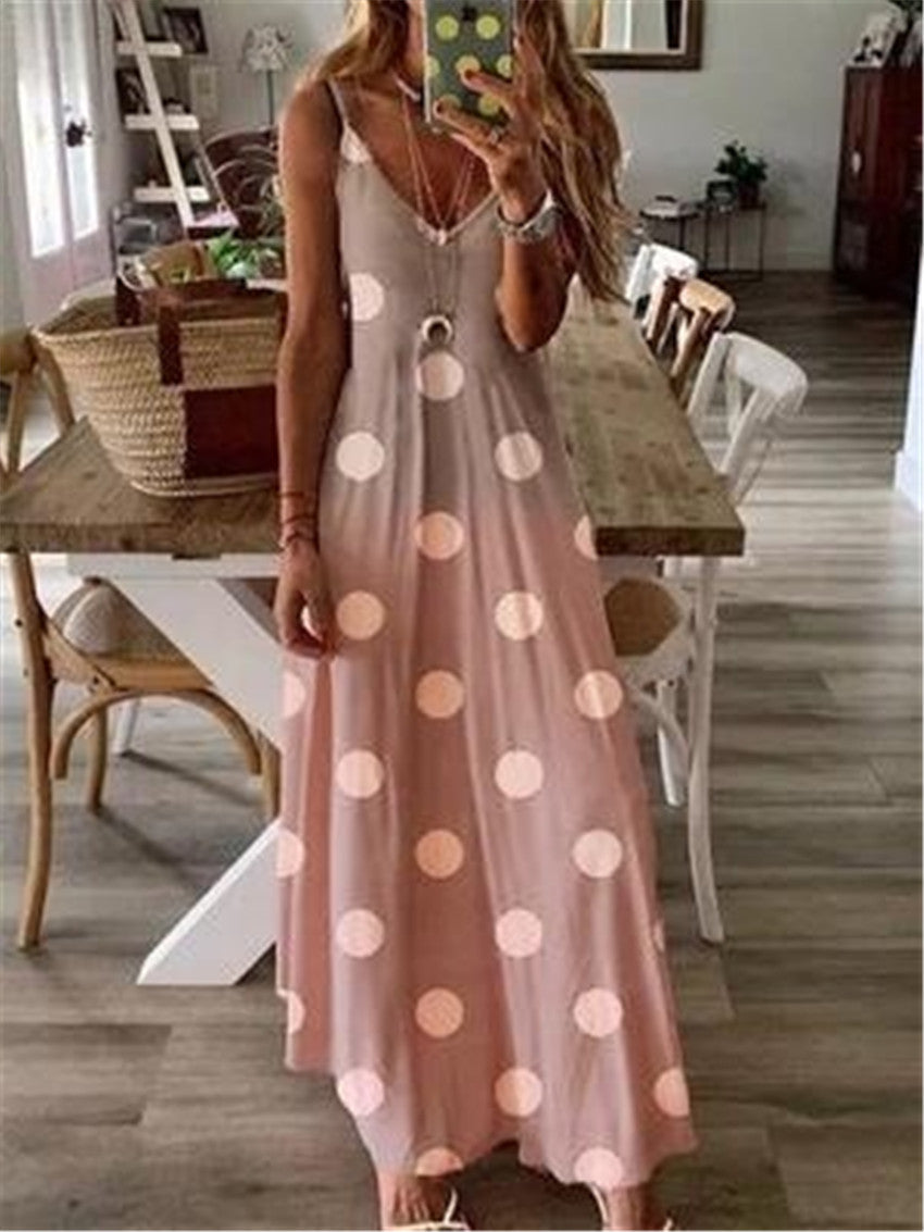 Polka Dots Sleeveless Cotton Maxi Dresses