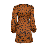 Sexy Ruffled Leopard Print Long Sleeve A-line Skirt Mini Dress