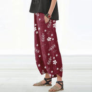 Fashion Casual Striped Small Flowers Straight Leg Pants
