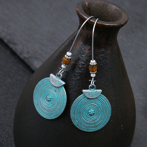 Vintage Textured Alloy Earrings