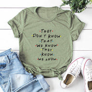 Creative Letter Print Round Neck Short Sleeve T-shirt