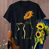Cat Sunflower Print Short Sleeve Top