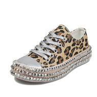 Leopard-print Rhinestone Canvas Shoes