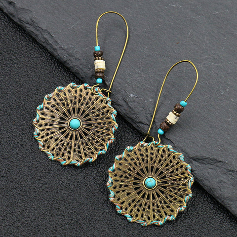 Round Cutout Hand-woven Earrings