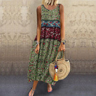 Cotton Printed Loose Sleeveless Casual Dress