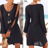 V-Neck Loose Shoulder Long Sleeve Casual Beach Dress