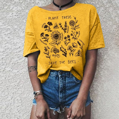 Botanical Cactus Flower Printed Short Sleeve T-shirt