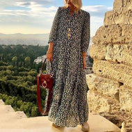 Vintage Printed Casual Maxi Dress