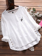 Casual Cotton Crew Neck Blouse