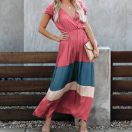 V-neck Contrast Maxi Dress