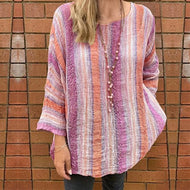 Colorful Cotton  Casual Long Sleeve Round Neck Blouse