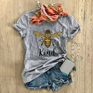 Bee Printed Casual Short-sleeved T-shirt