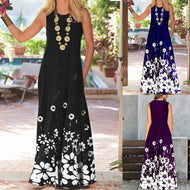 Fashion Hem Print Sleeveless Maxi Dress