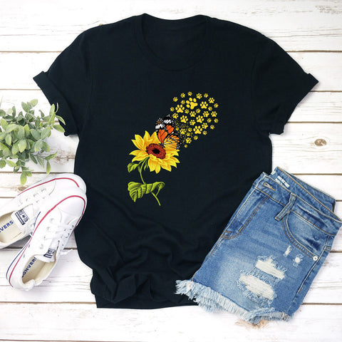 Sunflower Butterfly New Print T-shirt