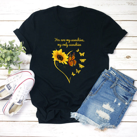 Sunflower Series Butterfly Print T-shirt