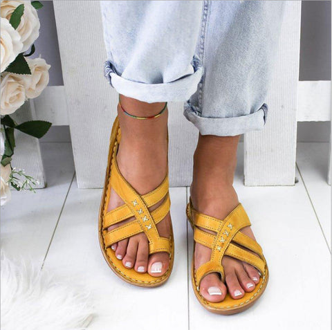 Casual Slope Heel Over Toe Sandals