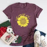 Lettered Sunflower Print T-shirt