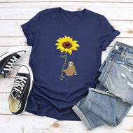 Sunflower Series Cute Sloth Print T-shirt