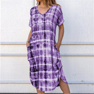 Short-sleeved V-neck Loose Fork Gradient Print Casual Dress