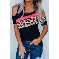 Leopard Stitched Hollow Sleeve T-shirt and Top