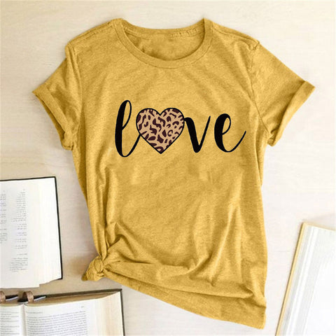 Letter Printed Round Neck Short Sleeve T-shirt
