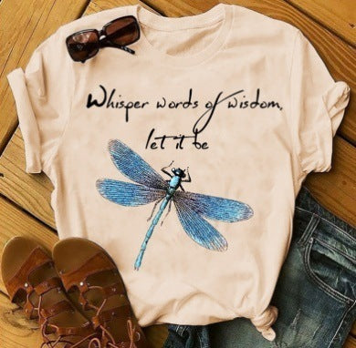 Dragonfly Print Short Sleeve T-shirt