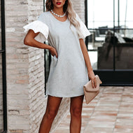Contrast Round-neck Ruffled Short-sleeved Dress