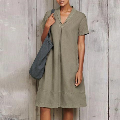 V-neck Vintage Loose Dress
