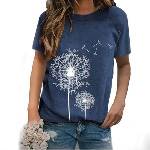 Dandelion Print Round Neck Short Sleeve Casual Loose Top