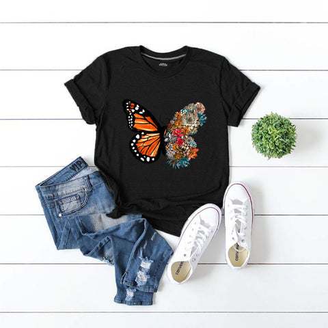 Round Neck Butterfly Letter Printed Loose T-shirt