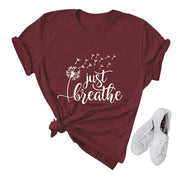 Just Breathe Casual Relaxed Short Sleeve T-shirt