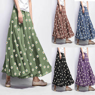 Casual Loose Daisy Print Skirt